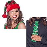 1 Nikolausmütze + 1 Krawatte im Set * WEIHNACHTEN * als Verkleidung für Weihnachten und Mottoparty // tolle Verkleidung für eine lustige Motto-Party // Weihnachten Baum Glitzer Kostüm Accessoire