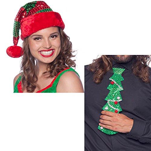 1 Nikolausmütze + 1 Krawatte im Set * WEIHNACHTEN * als Verkleidung für Weihnachten und Mottoparty // tolle Verkleidung für eine lustige Motto-Party // Weihnachten Baum Glitzer Kostüm ()