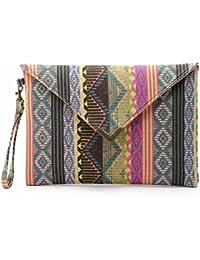 Flache & geräumige Damen Handtasche   Clutch für Damen im farbenfrohen Ethno Look mit geometrischen Mustern