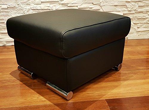 Schwarz Echtleder Hocker aufklappbar mit Stauraum Sitzhocker Rindsleder Sitzwürfel 60x55 Fußhocker Polsterhocker Echt Leder Puff