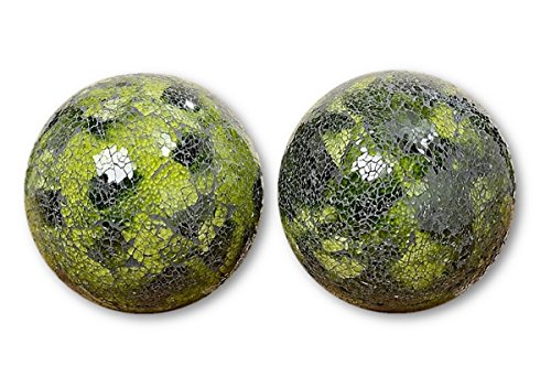 2 x Glass Ball Green Mosaic Glass Ball Garden Ball Rose Ball Diameter 18 cm