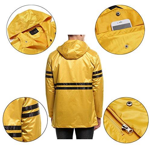 FINEJO Herren Regenjacke Wasserdicht Outwear Jacke mit Kapuze Atmungsaktiv Sportlich Windbreaker Gelb