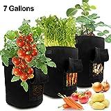 LEHOUR Grow Bags, 3 Stück 7 Gallonen atmungsaktives Vlies Kartoffel Grow Bags, Gartengemüse-Kulturtaschen mit Klappe und Griffen für Kartoffel, Karotte, Tomate (schwarz)