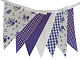 10 metres (32 ft) - Purple with Purple Rose Floral Spot White Gingham Bunting - Wedding - Birthday