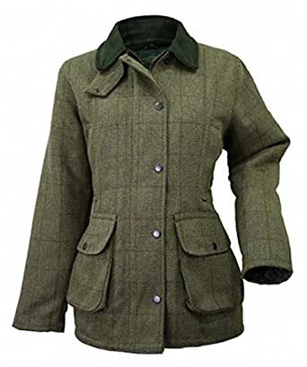 Wood Green - Veste En Tweed Pour Femme Style Chasse Peche - Carreaux beiges, 36