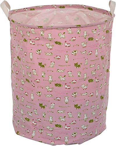 GZQNAN® Cotton Folding 48-Litre Round Laundry Basket for Organizing Cloths (Love Cat)