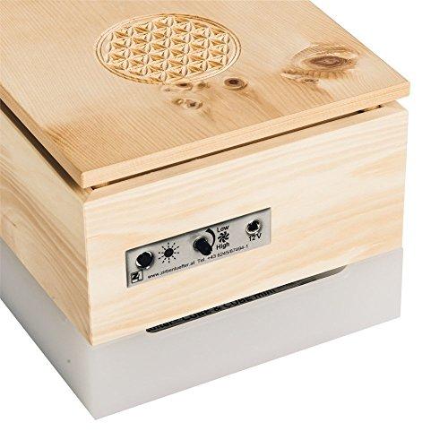 ZirbenLüfter CUBE mini pure, natürlicher Luftbefeuchter / Luftreiniger aus Zirbe / Zirbenholz. – Räume bis 15 m2. (Abdeckung Holz – Zirbe mit Blume des Lebens) - 3