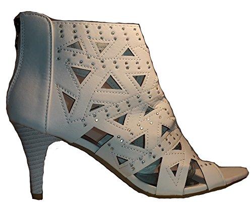 Talons hauts, Stiletto Pumps High Heels sandales, très sexy, bleu, orange, rosé, noir, blanc, pink, beige, gris, violet, rouge, serpents look, liège, glossy, modèle 11064105012035, escarpins. Blanc cross look.