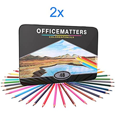 officematters 96 lápices de colores para adultos Libros para Colorear, Hard Core, 2 x pack de 48 con hierro caso, varios colores