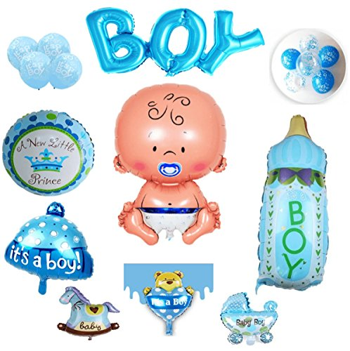 Layal Design BABY SHOWER PARTY MIX - BALLON SET BABYPARTY RAUMDEKO GEBURT PARTY SET DEKO DEKORATION TAUFE PARTYDEKORATION HELIUMBALLON LUFTBALLON BALLON ITS A BOY JUNGE BLAU (Folienballon Baby (M))