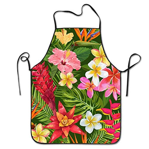 SPHGdiy Bib Kitchen Apron Tropical Flowers and Palm Leaves Seamless Pattern Chef Apron (Leaf Cross Palm)