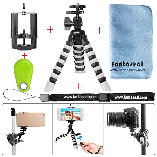 Fantaseal® 5-en-1 Mini 8'' Trépied Flexible en Bluetooth Ultraléger Robuste Multifonctionnel, Trépied de Table +Télécommande en Bluetooth +100mm Clip de Téléphone +Dragonne à main +Torchon à Nettoyer pour Nikon Canon Pentax Sony Panasonics Olympus Camera / Camcorder + Trail Camera+ iPhone 7+/ 7/ 6S+/ 6S/ 6+/ 6/ 5/ 5C/ 4S/ 4 +Samsung Nexus LG HTC Huawei ZTE Sony etc - VERT
