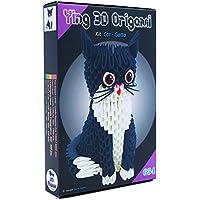 """'Origami 3d Kit gato/Cat 485PZ.–Cartón """"pre-segnato para fácil pliegue Pari a 1/32sobre base A4más DVD video-tutorial in italiano e inglés–Nivel impegnativo–Made in Italy"""