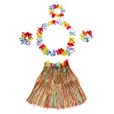 Anself 5PCS Jupe Costumes Hawaïenne Dance Kit Hawaï Hula-Hula Hula Set Herbe Jupes