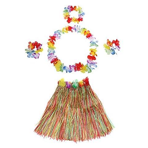 Anself 5PCS Jupe Costumes Hawaïenne Dance Kit Hawaï Hula-Hula Hula