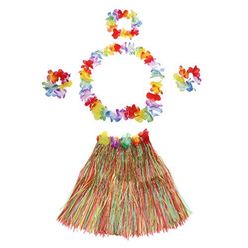 Imagen de anself  set de vestido hawaiano de disfraces de fiesta falda de hula 60cm+2 pulsera de flores+anillo cuello+guirnalda  yxcq 5pcs