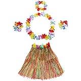 Anself - Set de Vestido Hawaiano de Disfraces de Fiesta (Falda de Hula 60cm+2 Pulsera de Flores+Anillo Cuello+Guirnalda) (YXCQ-5pcs)
