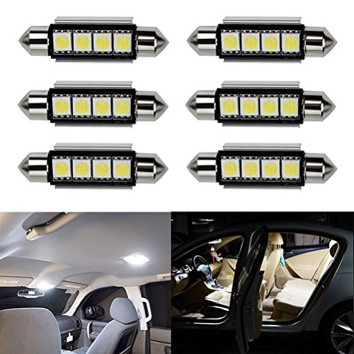 Ralbay 6 x 41mm/42mm C5W LED Can-Bus Senza errori del Festone 4SMD 5050 LED SMD lampadine per luci Interne Auto o Targa a LED Bulbi (6 * 41mm 4SMD)