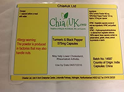 Turmeric & Black Pepper Capsules HIGH STRENGTH 750mg 120 Capsules By Chia4uk Ltd | No Additives | Great Quality Made in The UK | from Chia4uk Ltd