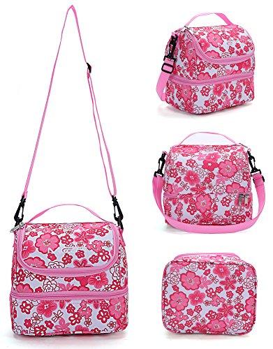 prezzo MIER fresco borsa rosa a doppio scomparto pranzo Kit riutilizzabile Pranzo Tote isolata scatola di pranzo per i bambini, ragazza, donne ( fiore rosa)