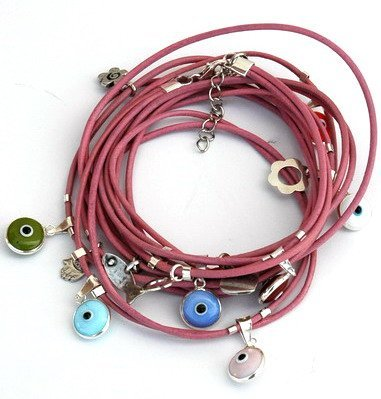 Mizze Made For Luck Jewelry Bracciale in pelle rosa con occhio greco, argento sterling ciondoli per protezione