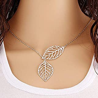 YIJUBOI Fashion Jewelry Necklace,simple Personality Wild Temperament 2 Leaf Necklace Female Fds,Silver