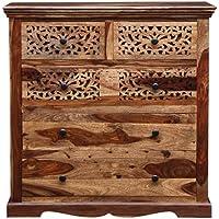 Vishwakarma Antique Sheesham Solid Wood Chest of Drawers in Rustic Teak Finish