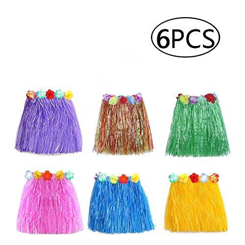 ss Hula Rock mit Blume Leis Hawaii Party Röcke Kostüm Fancy Dress Girlande für Kinder Mädchen Party Geburtstag Party Favor, zufällige Farbe, 6pcas, Einheitsgröße (Freude Fancy Dress)