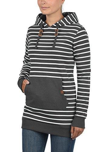 BLEND SHE Cloey Damen Kapuzenpullover Hoodie Long Sweatshirt mit Fleece-Innenseite Longline Sweat-Kleid aus hochwertiger Baumwollmischung Charcoal