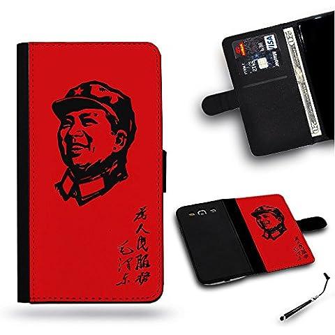 Teléfono Móvil/Tienda/Full protección funda carcasa ranura de funda de piel tipo cartera para Samsung Galaxy S4i9500, Samsung S4//Servir la gente Mao Zedong Cultural