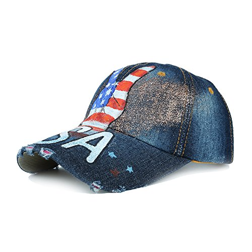 Unisex Classic Vintage Love USA American Flag Printing Washed Denim Baseball Cap Adjustable Low Profile Dad Hat