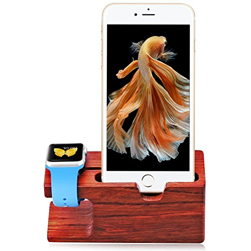 Apple Watch Stand, Aerb Rose Wood ricarica basamento della staffa della stazione di aggancio della culla del supporto per Apple Watch e iPhone 5 / 5S / 5C / 6/6 PLUS / 6S / 6S Plus