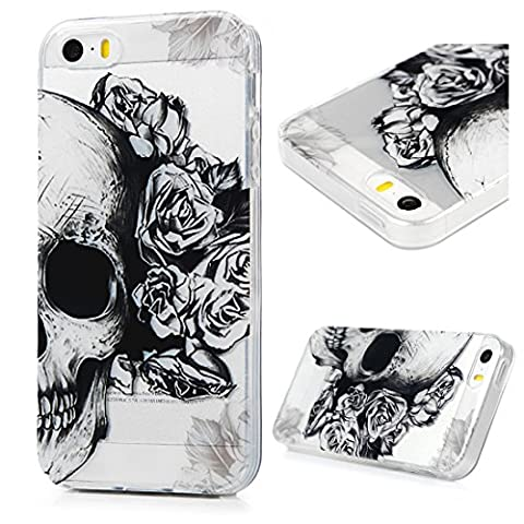 iPhone 5 Case, iPhone 5S Case, iPhone SE Case - MAXFE.CO Colorful Painted TPU Case, Ultra Thin Slim Soft Flexible Scratch Resistant Shockproof Protective Cover For iPhone 5, iPhone 5S, iPhone SE - Skull