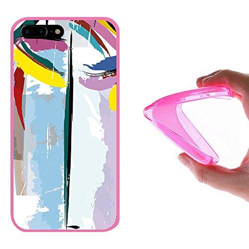 iPhone 7 Plus Hülle, WoowCase Handyhülle Silikon für [ iPhone 7 Plus ] Grau und Rosa Schädel Handytasche Handy Cover Case Schutzhülle Flexible TPU - Schwarz Housse Gel iPhone 7 Plus Rosa D0334
