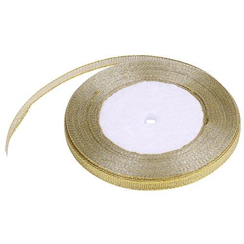 Geschenkverpackung Satinband, 25 yards/rolle 7mm Gold/Silber Party Home Hochzeitsdekoration Geschenkverpackung (Gold)