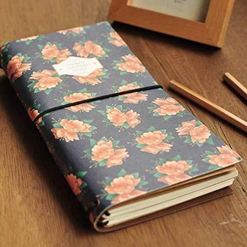 ben Instrumente, Vintage Planer Travel Notizbuch Pocket Memo mit Blumen GRIL Muster 1# ()