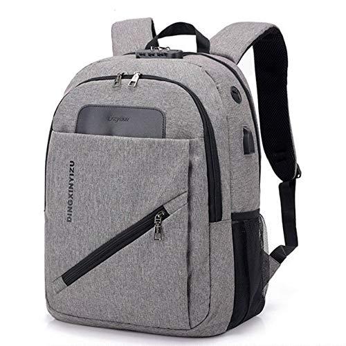 Laptop Rucksack,Kennwortsperre Herren Notebook-Rucksack USB-Aufladung Diebstahlschutz-Schultertasche, grau Daypack Schulrucksack Backpack