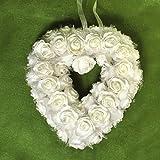 Dekorationsherz weiße Rosen zum Aufhängen Dekoherz ca. 24 x 23 cm Rosenherz