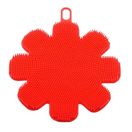 Huhu833 Silikon Schwamm, 1 Stück Silikon Geschirrspülmittel Schwamm Scrubber Küche Reinigung Antibakterielle Werkzeug (Rot) -