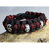 Adrenalintours bracelet en paracorde 550 avec têtes de mort skull pirate biker-bordeaux-noir-taille s