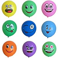 12Pcs Emoji Party Supplies Favor Balloons, 7-12inch Smiley Face Foil Mylar Balloon, Yellow Reusable Helium Emoticon Balloon for Holiday Wedding Birthday Decorations Teens Girls Children Kids Gift