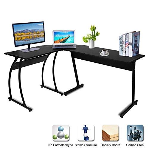 """Crazylynx - scrivania angolare grande a forma di """"l"""", per pc, portatile, postazione di lavoro per casa e ufficio, colore: nero"""
