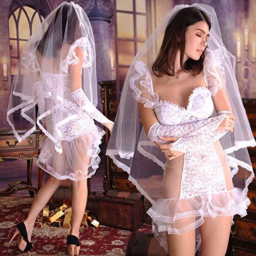 Liu Sensen Frauen Rasante Dessous Hochzeitskleid Fischschwanz Kleid Virgin Erste Nacht Brautschleier Hochzeit Rock Weiße Spitze Unterwäsche Sets