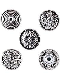 Morella mujer small Click-Button Set 5 pcs de presión 12 mm diámetro de diseño ondulado con flores y adornos