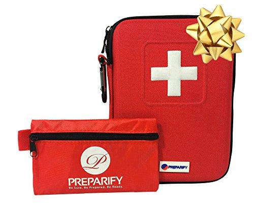 2-in-1 Erste Hilfe Set Mit 150 Teilen, Rote Halbharte Tasche Plus Ultraleichte Mini Notfalltasche Für Zuhause, Arbeit, Auto, Outdoor, Camping, Wandern und Survival