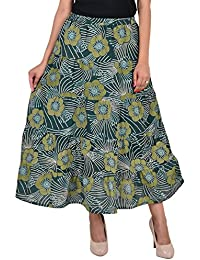 VS FASHION Women's Casual Floral Print Cotton Skirt