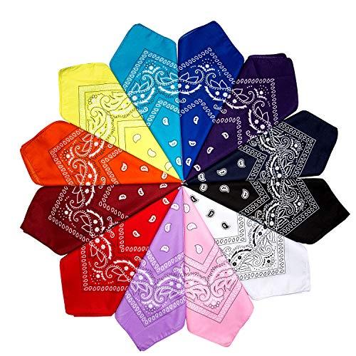 ZWOOS 12 Piezas Unisex Bandana, Paisley Pattern Bandanas, Cuello Multicolor Algodón bandanas,...
