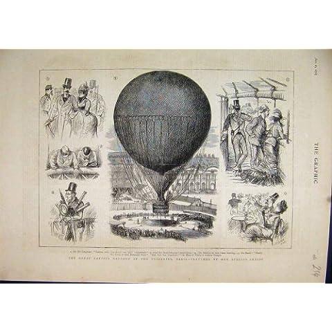 Pallone Prigioniero Tuileries Parigi 1878 Schizzi