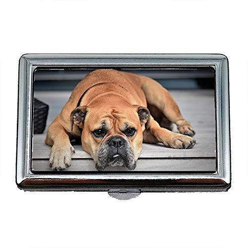 Kitty Pet Hello Kostüm - Zigarettenetui/Box, Hund Tier Continental Bulldog Pet Tier Portrait, Visitenkartenetui Visitenkartenetui Edelstahl