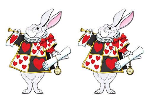 Beistle Alice im Wunderland weißes Hasen-Dekor Jointed White Rabbit mehrfarbig (Rabbit Wunderland White Kostüm)